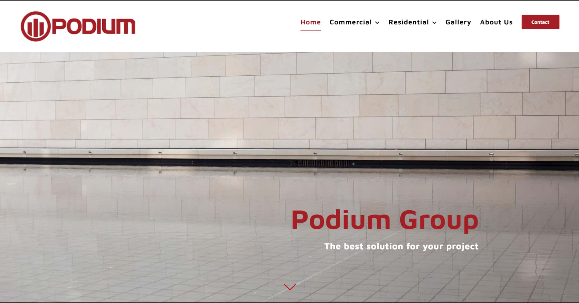Screenshot of the home page of Podium Group's website