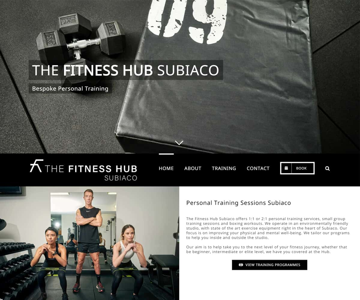 The webpage for The Fitness Hub Subiaco featuring a black and white design